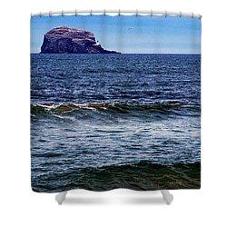 Wave Bye-bye Shower Curtain by Nik Watt