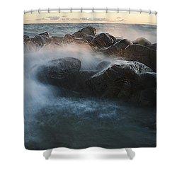 Wave Crashed Rocks 7947 Shower Curtain
