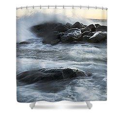 Wave Crashes Rocks 7835 Shower Curtain