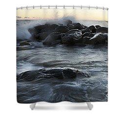 Wave Crashes Rocks 7838 Shower Curtain