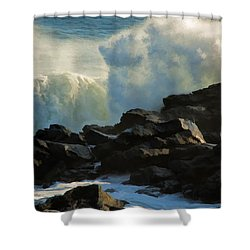 Wave Energy Shower Curtain by Nancy De Flon