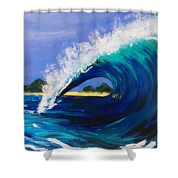 Shower Curtain featuring the painting Wave  by Jennah Lenae