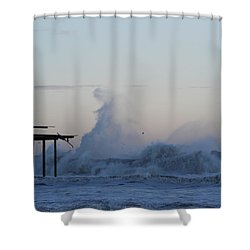 Wave Towers Over Oc Fishing Pier Shower Curtain by Robert Banach