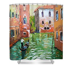 Wave Under The Oars Of The Gondola, City Scene. Shower Curtain