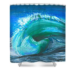 Wave Shower Curtain by Veronica Rickard
