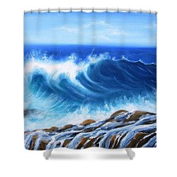 Wave Shower Curtain by Vesna Martinjak