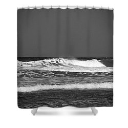 Waves 2 In Bw Shower Curtain