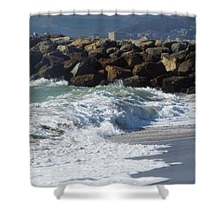 Waves Against Breakwater Shower Curtain
