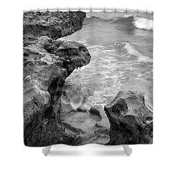 Waves And Coquina Rocks, Jupiter, Florida #39358-bw Shower Curtain