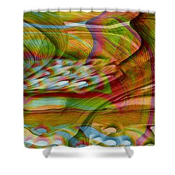 Waves And Patterns Shower Curtain by Linda Sannuti