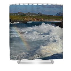 Waves And Rainbow At Clogher Shower Curtain