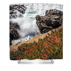 Waves And Rocks At Soberanes Point, California 30296 Shower Curtain