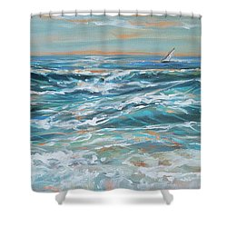 Waves And Wind Shower Curtain