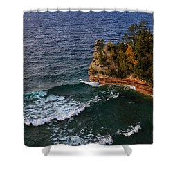Waves At Miners Castle Shower Curtain by Rachel Cohen