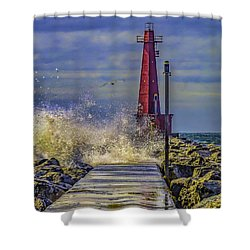 Waves At Muskegon South Breakwater Shower Curtain