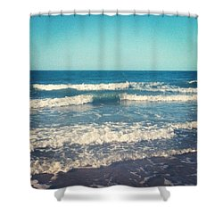 #waves #blue #water #ocean #beach Shower Curtain