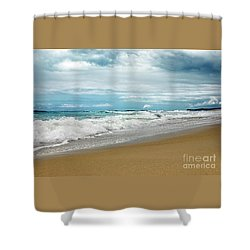 Shower Curtain featuring the photograph Waves Clouds And Sand By Kaye Menner by Kaye Menner