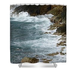 Waves Lashing Rocks Shower Curtain