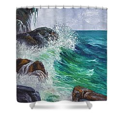 Shower Curtain featuring the painting Waves On Maui by Darice Machel McGuire