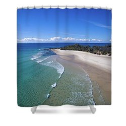 Waves Rolling In To North Point Beach On Moreton Island Shower Curtain