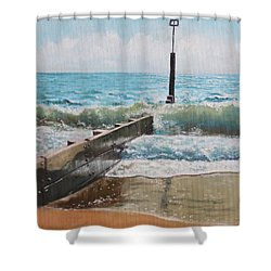 Waves With Beach Groin Shower Curtain by Martin Davey
