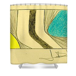 Waves Yellow Blue Shower Curtain