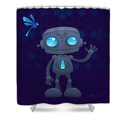 Waving Robot Shower Curtain by John Schwegel