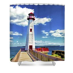 Shower Curtain featuring the painting Wawatam Lighthouse by Christopher Arndt