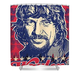 Waylon Jennings Pop Art Shower Curtain by Jim Zahniser