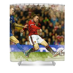 Wayne Rooney Of Manchester United Scores Shower Curtain