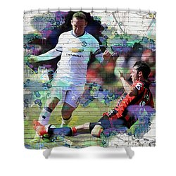 Wayne Rooney Street Art Shower Curtain