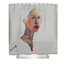 Shower Curtain featuring the painting Wc Mini Portrait 2 by Becky Kim