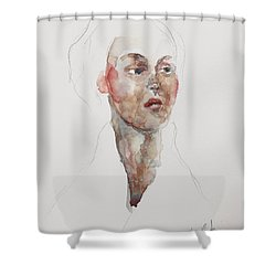Shower Curtain featuring the painting Wc Mini Portrait 4             by Becky Kim