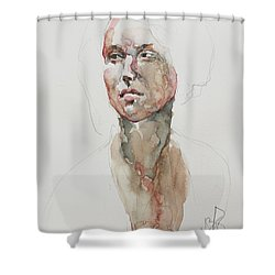 Shower Curtain featuring the painting Wc Mini Portrait 5             by Becky Kim