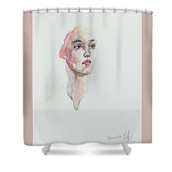 Shower Curtain featuring the painting Wc Mini Portrait 6             by Becky Kim