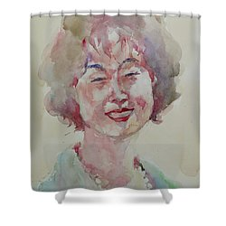 Wc Portrait 1627 My Sister Hyunju Shower Curtain by Becky Kim