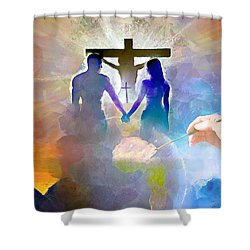 Shower Curtain featuring the painting We Are God's Masterpiece by Wayne Pascall