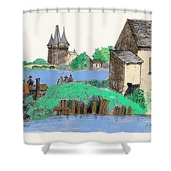 We Are Gone Fishing, Eh? Shower Curtain