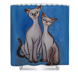 We Are Siamese Shower Curtain by Leslie Manley