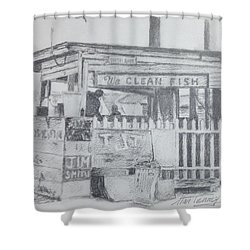 Shower Curtain featuring the painting We Clean Fish by Stan Tenney
