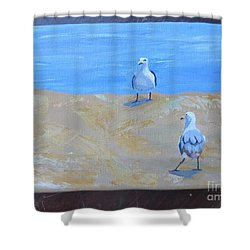 We First Met On The Beach Shower Curtain