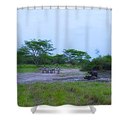 We Live Happily Side By Side Shower Curtain