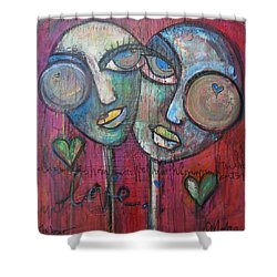 We Live With Love In Our Hearts Shower Curtain