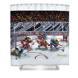 We Olive Hockey Shower Curtain by Michael Godard