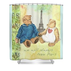 Shower Curtain featuring the painting We Will Always Have Paris Whimsical Bears by Judith Cheng