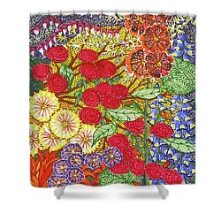 Shower Curtain featuring the painting We Will Have Many Blooms #2 by Kym Nicolas