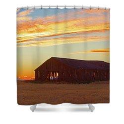 Weathered Barn Sunset Shower Curtain