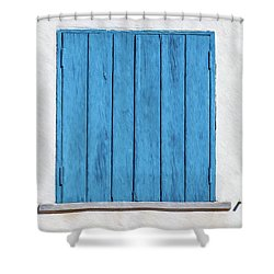 Weathered Blue Shutter Shower Curtain