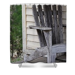 Shower Curtain featuring the photograph Weathered Porch Chair by Debbie Karnes