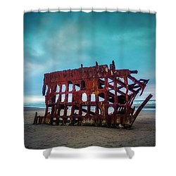 Weathered Rusting Shipwreck Shower Curtain by Garry Gay